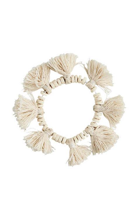 Bracelet Perles et Pompons Ecru