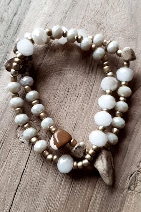 Bracelet Duo Perles et Pierres - White