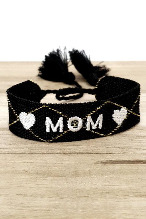 Bracelet Coton - Mom - Black