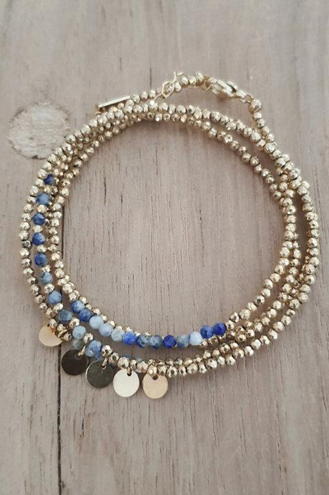 Bracelet Duo Collier - Perles de Pierres Naturelles - Lapis Lazuli - N6