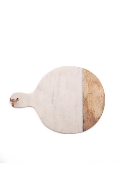 Grande Planche Ronde Marbre Bois - White