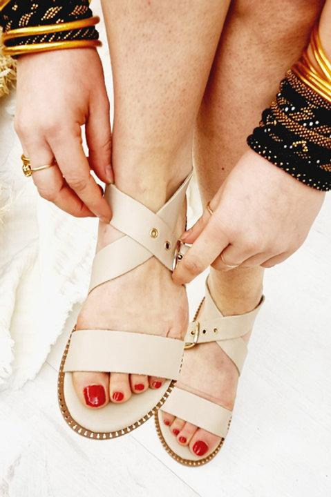 Sandale Cuir Panormos Beige