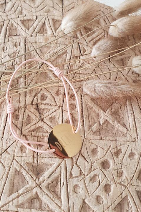 "Bracelet Médaille ""DREAM"" Cordon Nude"