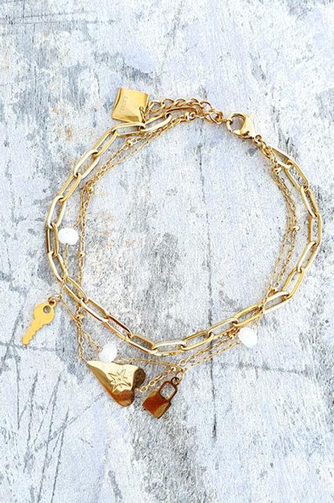 Bracelet Multi - Heart - White