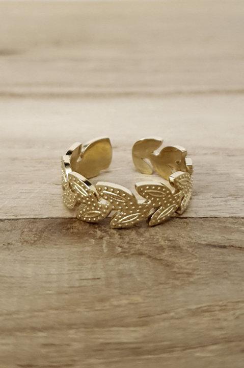 Bague Couronne Feuille Gold