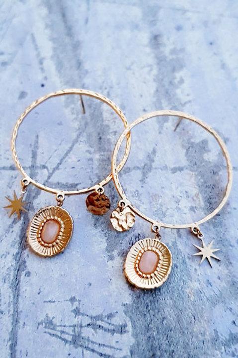 Boucle d'Oreille Quartz Rose - Gold