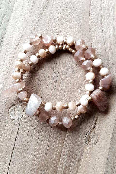 Bracelet Duo Perles et Pierres - Blush