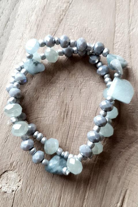 Bracelet Duo Perles et Pierres - Blue