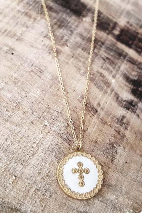 Collier Médaille Croix Blanche