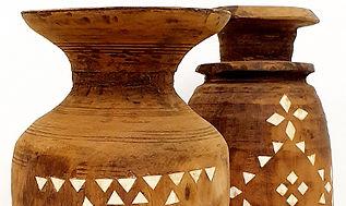 Pot à Lait Nacre Indien - Vintage - Bois