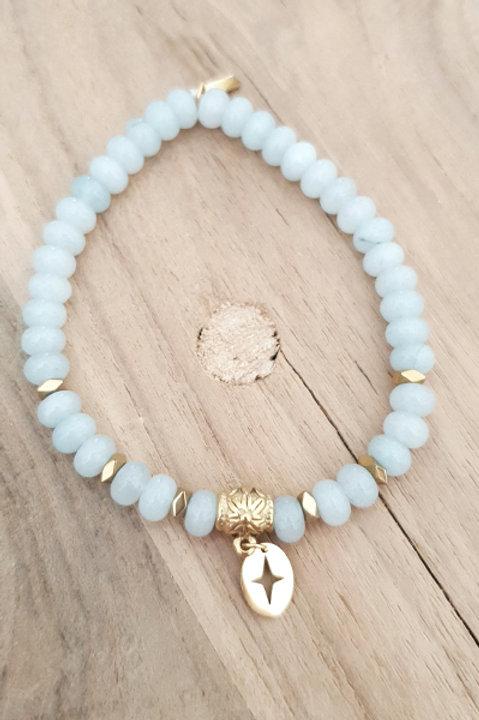 Bracelet Perles de Pierre - Aigue Marine