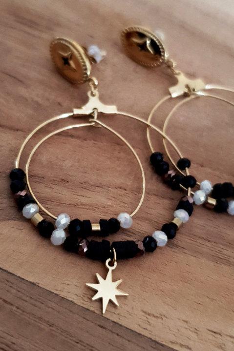 BO Pendant Multi Cercle - Perles Black