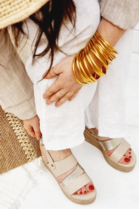 Sandale Cuir Compensée Mykonos