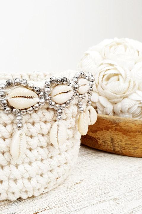 Panière Macramée Perles et Coquillage - Silver