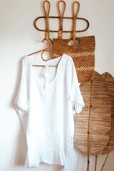 Robe Poncho Blanc