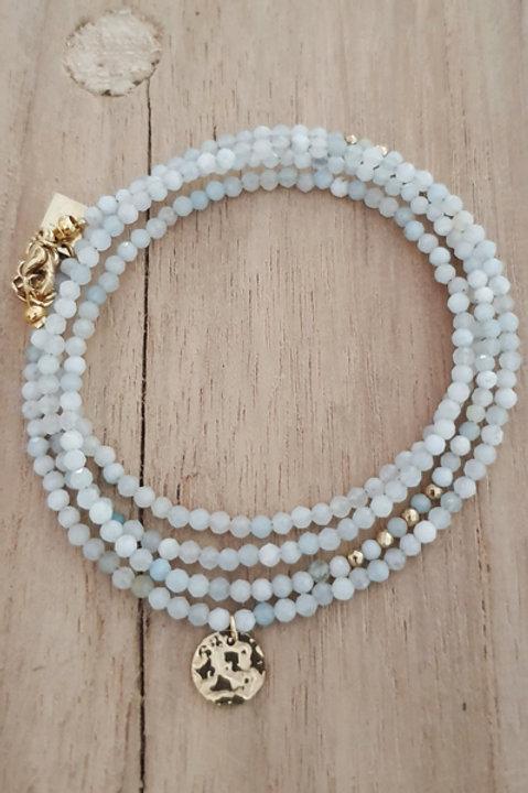 Bracelet Duo Collier - Perles de Pierres Naturelles - Aigue Marine - N2