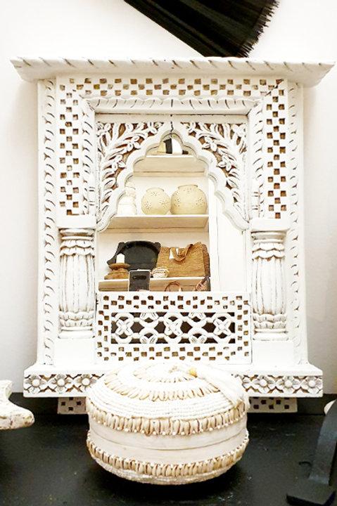 Miroir Bois Sculpté Indien Blanchi - XL