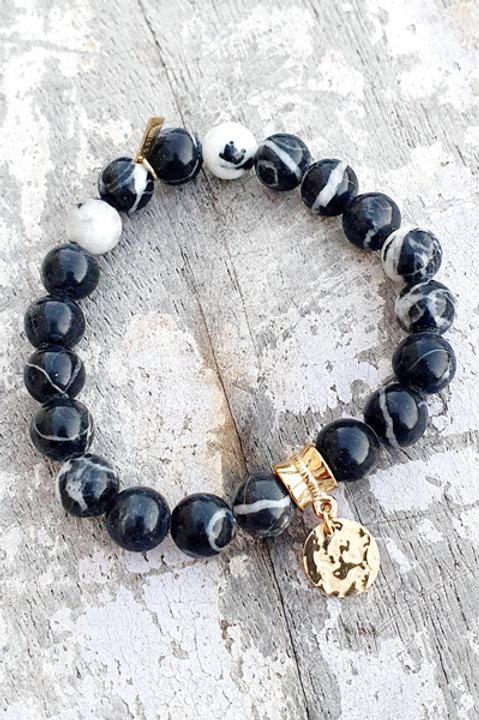Bracelet - Pierre Jaspe Zebre - Pampille Médaillon Gold