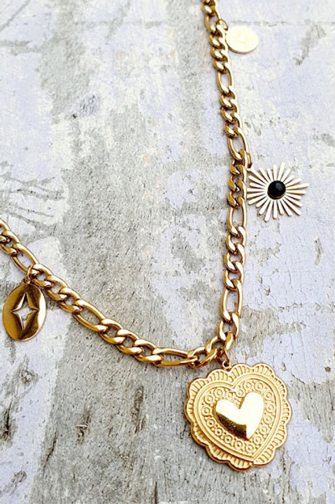 Collier Chainette Pampille Coeur