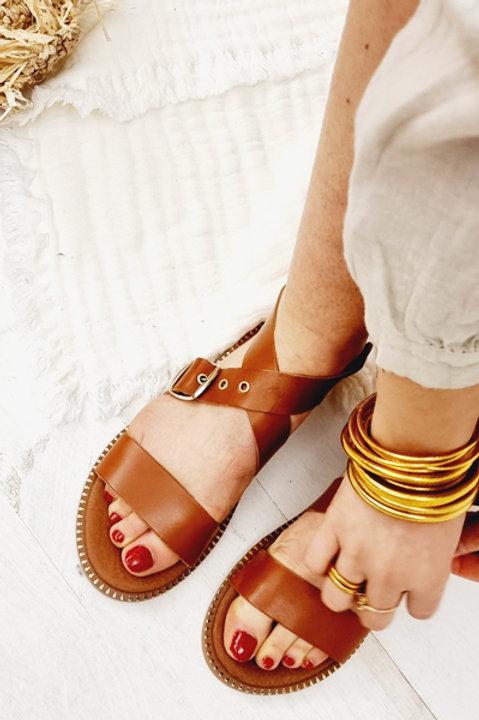 Sandale Cuir Panormos Camel