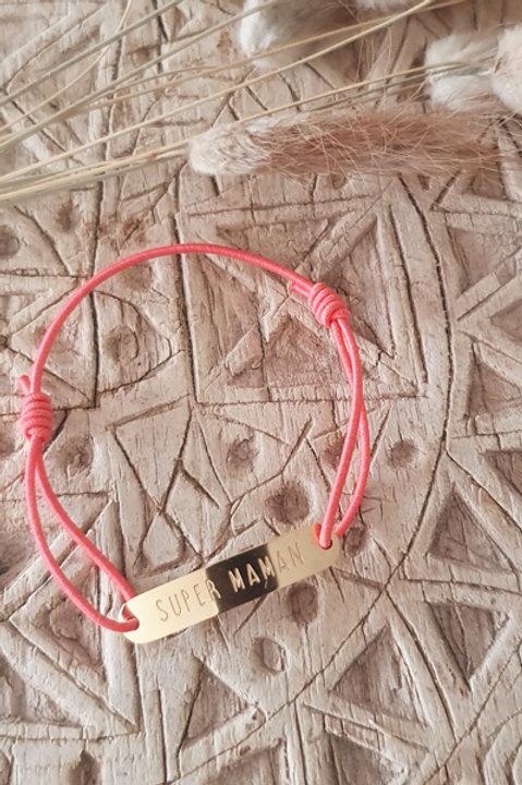 "Bracelet Médaille ""Maman"" Cordon Framboise"