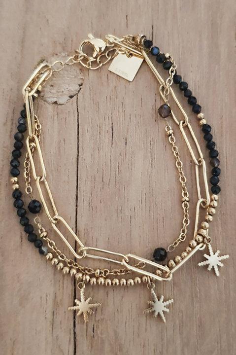 Bracelet Trio Perles Onyx - N2
