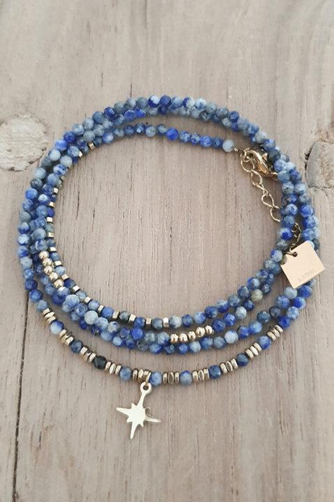 Bracelet Duo Collier - Perles de Pierres Naturelles - Lapis Lazuli - N5