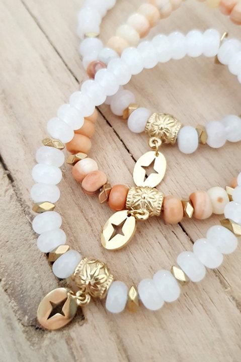 Bracelet Perles de Pierre - Quartz Rose