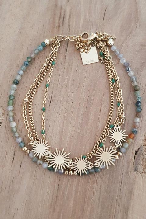 Bracelet Trio Perles Amazonite - N5