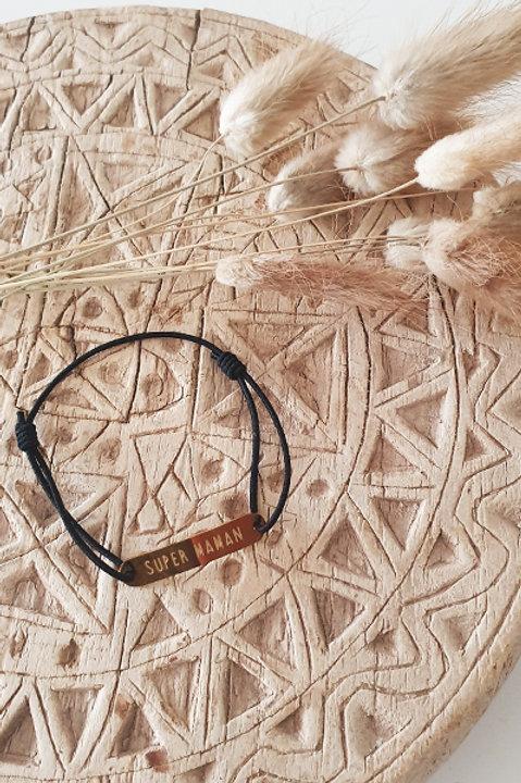 """Bracelet Médaille """"Maman"""" Cordon Black"""