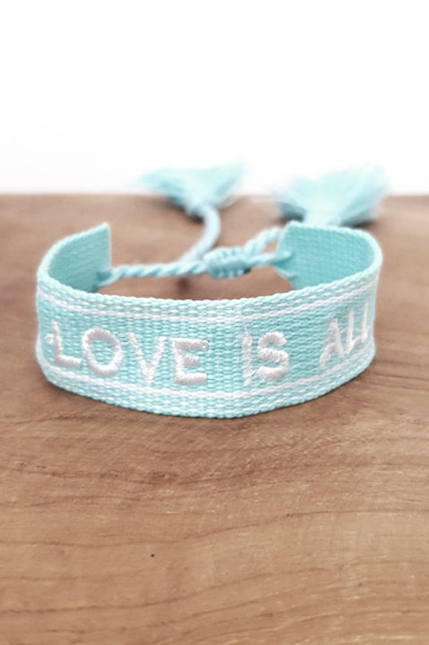 Bracelet Coton - Love Is All - Turquoise