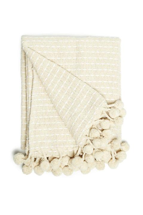 Plaid Coton Rayures Ecru et Blanc