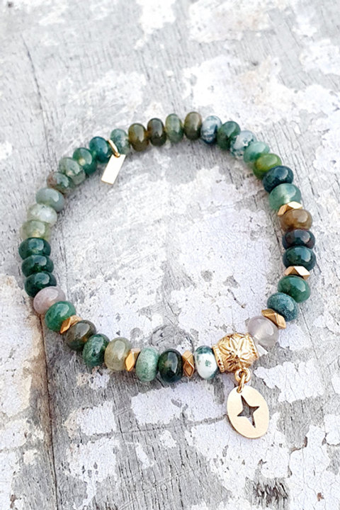 Bracelet - Pierre Agate Indienne - Pampille Etoile Gold