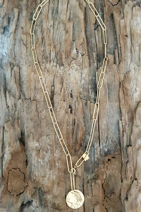 Sautoir Chainette Médaille Martelée
