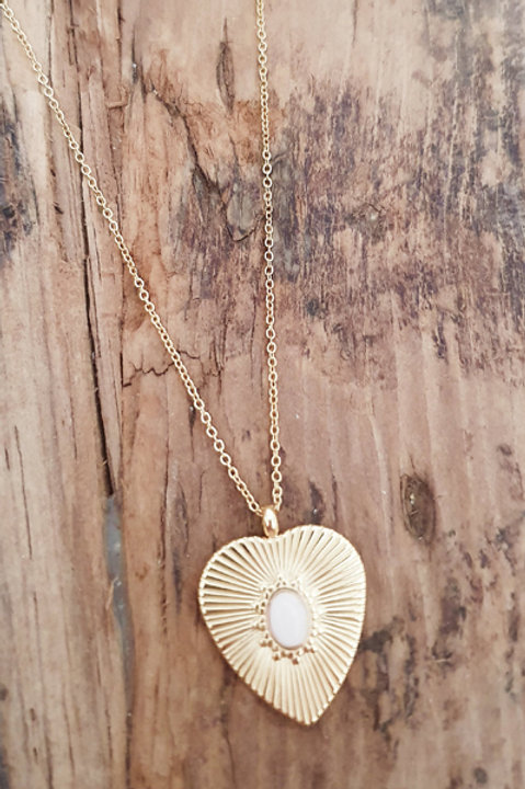Collier Heart Gold - Quartz Rose