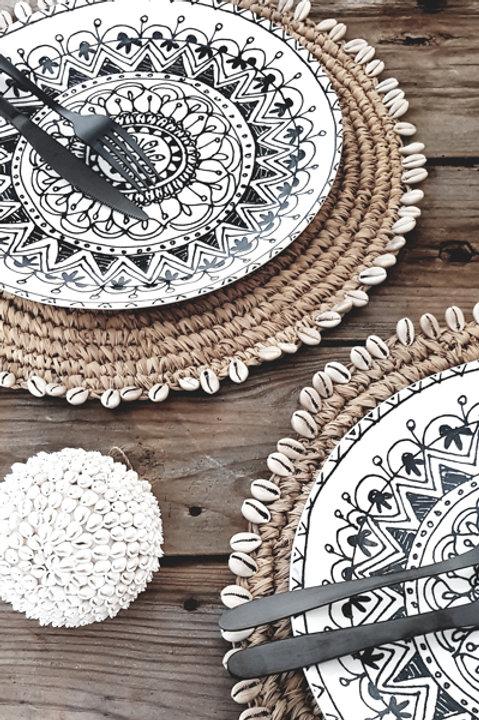 Set de Table Assiette Raffia Coquillage Naturel