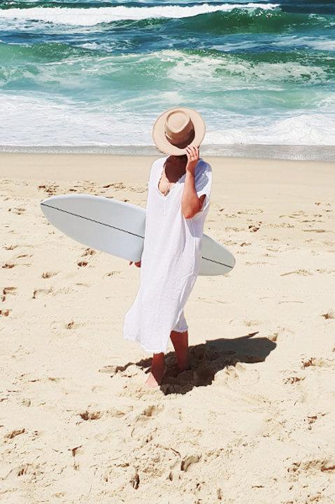 Robe Formentera Lin Coton - Blanc