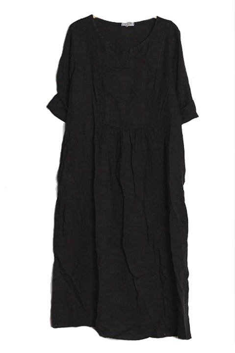 Robe Longue Lin - Noir