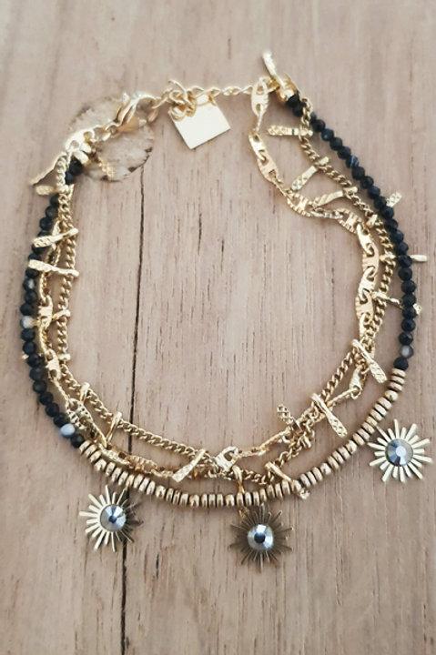 Bracelet Trio Perles Onyx - N4