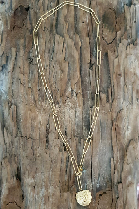 Sautoir Chainette Médaille Coeur
