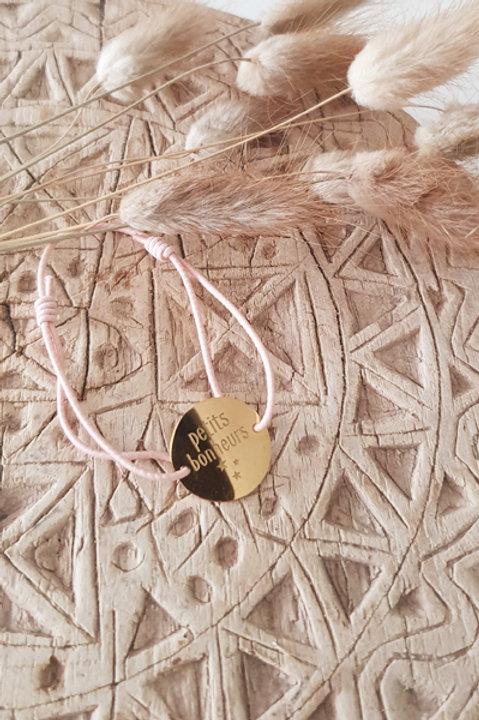 """Bracelet Médaille """"Petits Bonheurs"""" Cordon Nude"""