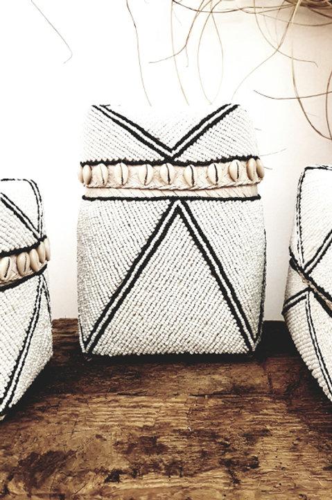 Boite Perles Cauris - Black White - Grand Modèle