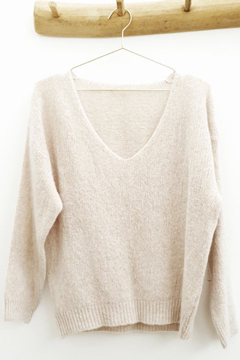 Pull Cosy Mohair Col V - Beige