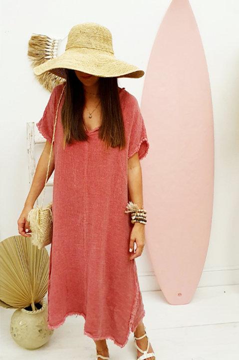 Robe Formentera Lin Coton - Rose Framboise