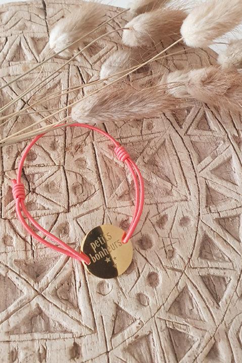 """Bracelet Médaille """"Petits Bonheurs"""" Cordon Framboise"""