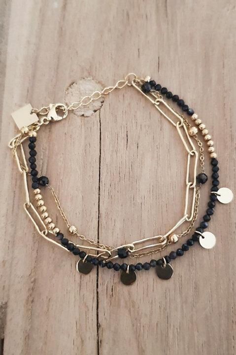 Bracelet Trio Perles Onyx - N3