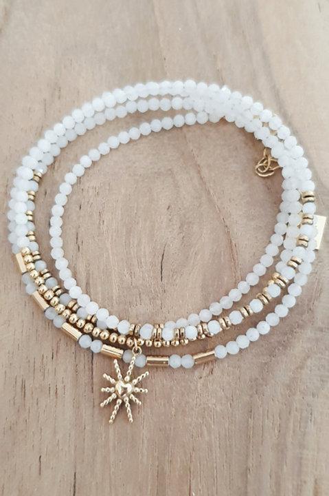 Bracelet Duo Collier - Perles de Pierres Naturelles - Agathe Blanche - N2