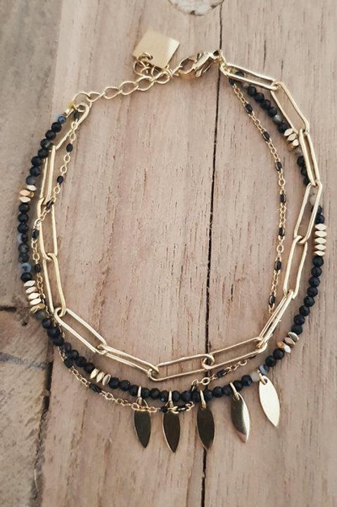 Bracelet Trio Perles Onyx - N1