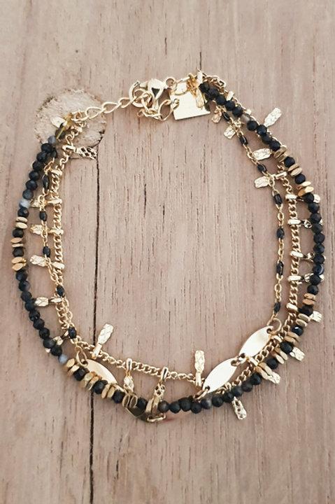 Bracelet Trio Perles Onyx - N5