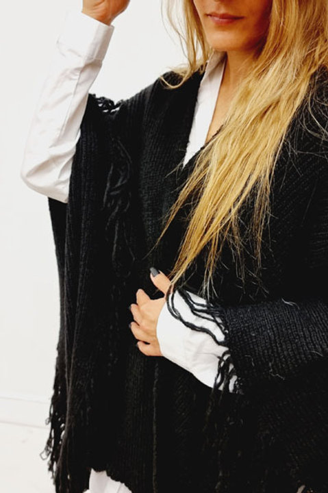 Poncho Frange Noir